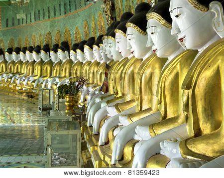 Buddha Images Inside U Min Thonze Pagoda, Sagaing, Mandalay, Myanmar