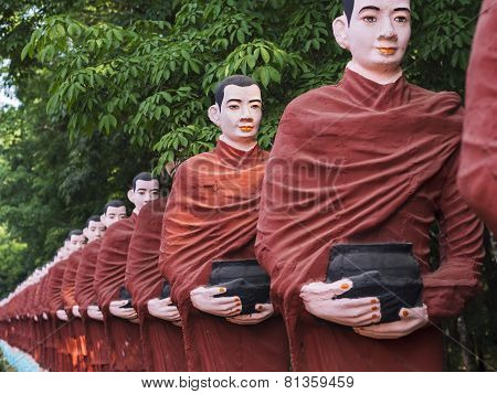 Statues Of Buddhist Monks At Win Sein Taw Ya Budda, Mawlamyine, Myanmar