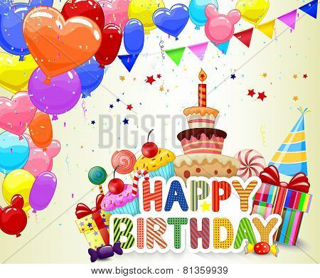 Birthday background with cartoon colorful balloon and birthday cake