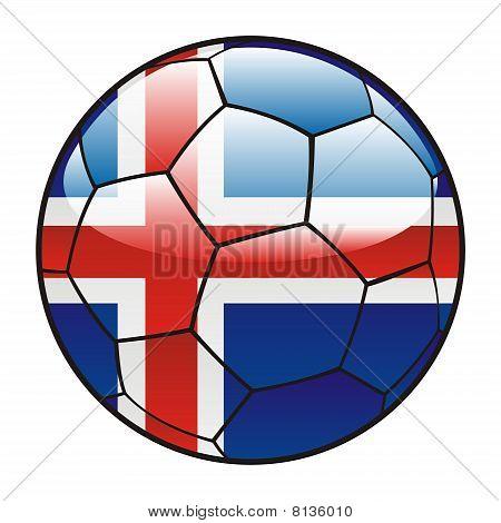 Iceland flag on soccer ball