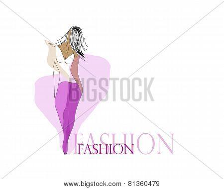 Fashion sketch illustration with sample text: fashion