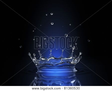 Water Splash In Blue Spot Light