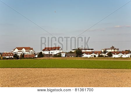 New Built Housing Area In Beautiful Landscape With View Over Golden Acres And Fields And In Beautifu