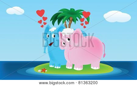 Two loving elephants on the small icle