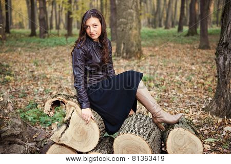 Autumn portrait of a beautiful young woman.