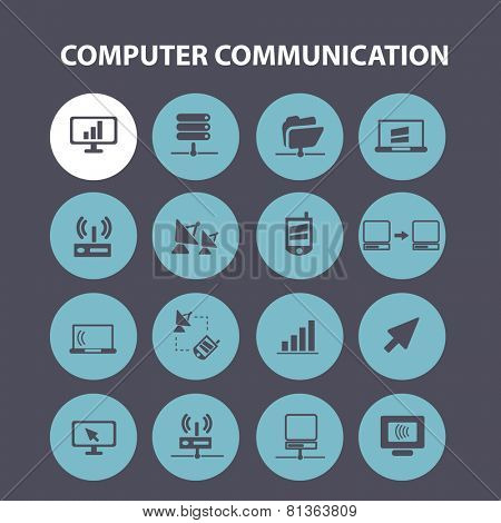 computer, communication, connection, internet icons, signs, illustrations set, vector