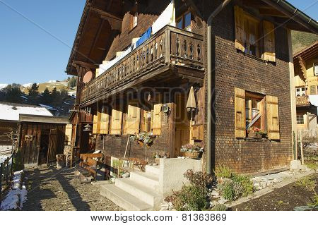 Exterior of the traditional Swiss chalet in Rougemont, Switzerland.