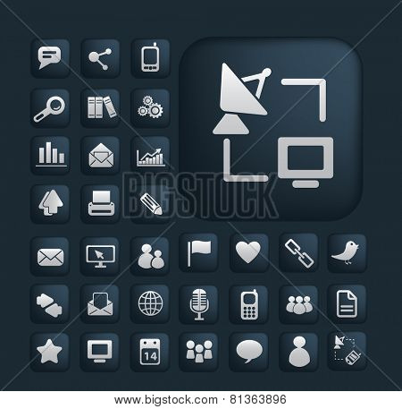 communication, digital, internet, connection, network icons, signs, illustrations set, vector