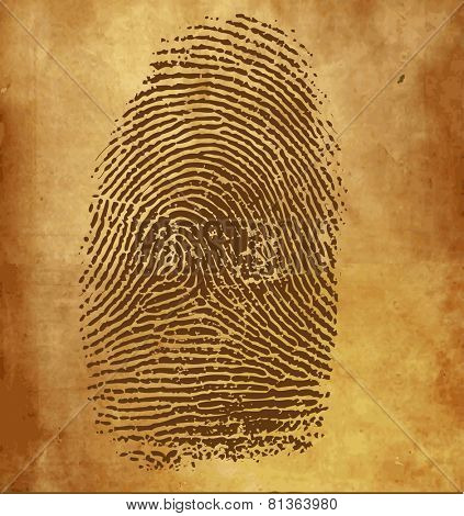 Vintage background with vector fingerprint