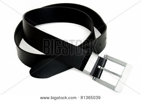 One Men's Black Belt with Silver Buckle Isolated on White Background