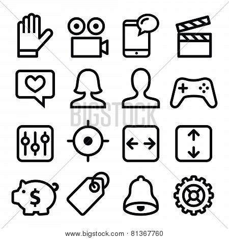 Website menu navigation line icons set