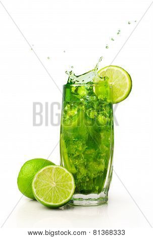 Splashing Cocktail With Mint And Lime