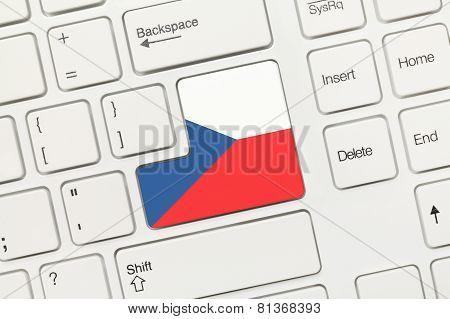 White Conceptual Keyboard - Czech Republic (key With Flag)