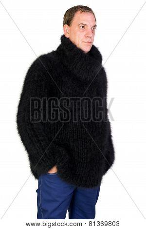 man in a black angora sweater