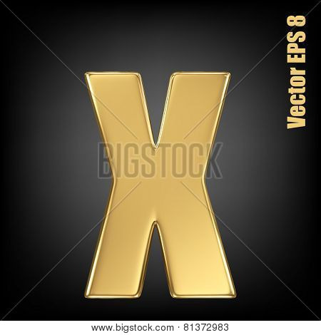 Vector letter x from gold solid alphabet. Lowercase golden font collection. EPS 8