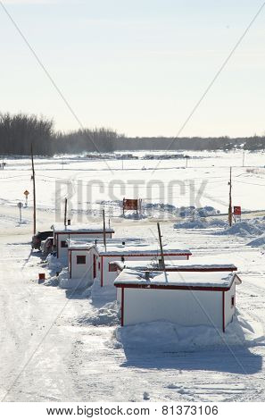 STE-ANNE DE LA PERADE,  CANADA - JANUARY 17: Opening of the season of fishing for tomcod on january 17, 2014 in QUEBEC