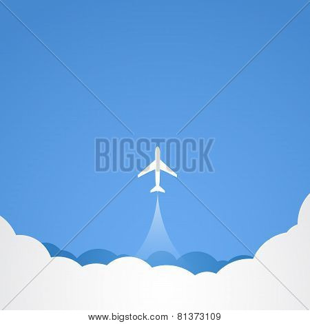 White silhouette of jet airplane