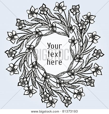 Romantic card with floral wreath in tattoo style