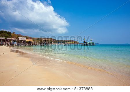 Beautiful Tropical Beach With Huts