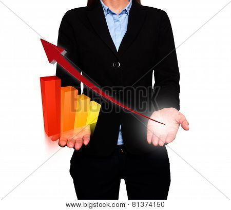 Businesswoman showing Growth graph. Success Work- Stock Image