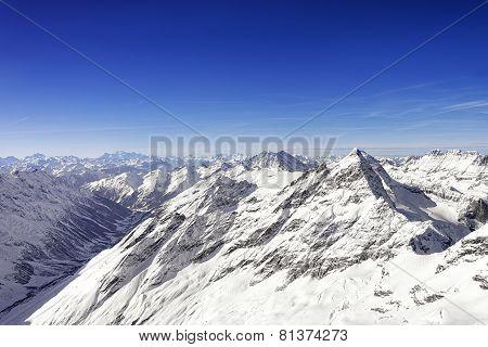 Swiss Alpine Jungfrau Peak And Highland Landscape Panorama