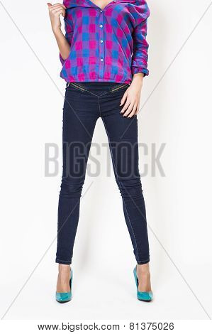 Woman's Body Dressed In Casual Clothes