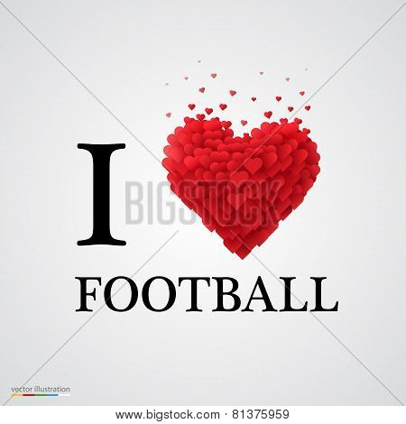 i love football heart sign.