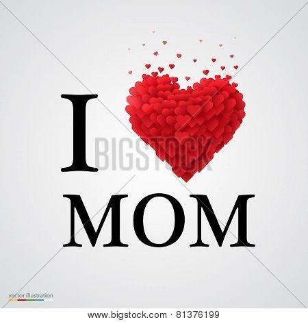 i love mom heart sign.