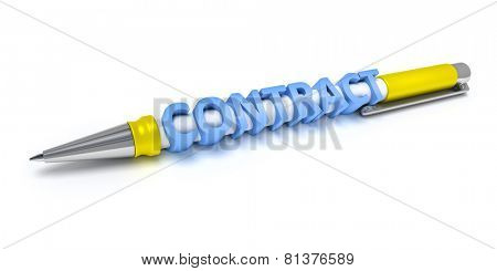 An image of a every day ball pen with the message contract