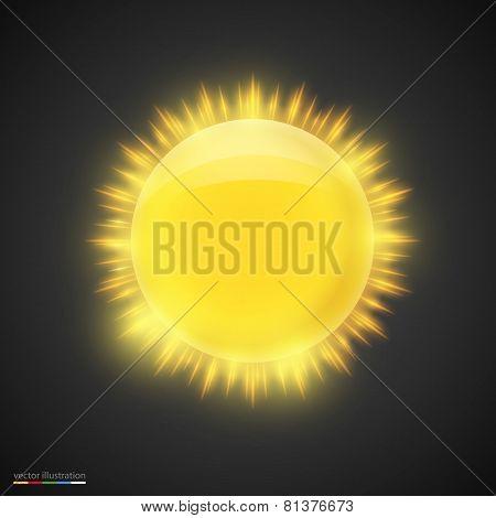 Realistic gold sun on dark background