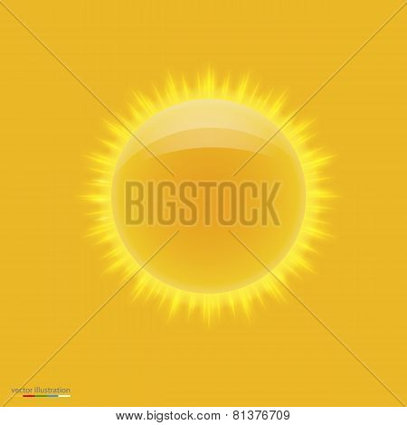 Yellow hot sun with beams