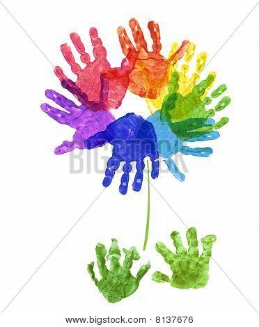rainbow flower hand print