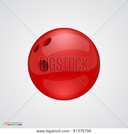 Red shiny and clean bawling ball