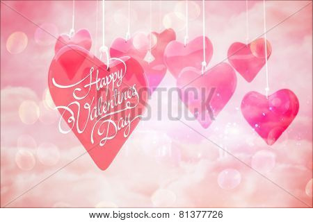 Happy valentines day against digitally generated pink girly design