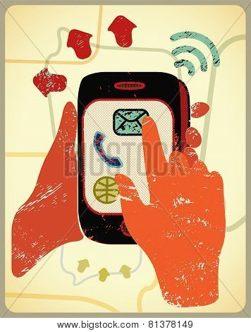 Vector illustration in retro style with hands holding a smart phone.