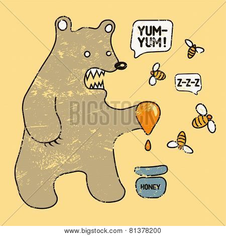 Cartoon retro funny bear with honey and bees. Vector grunge illustration.