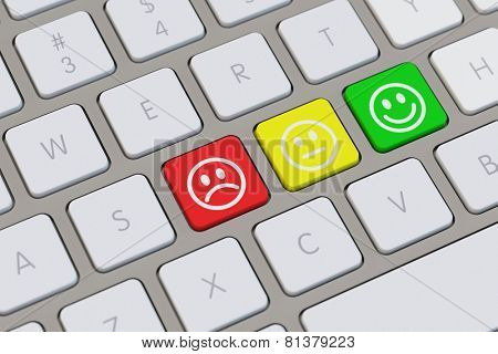 Smiley assessment keyboard concept with three moods displayed (3D Rendering)