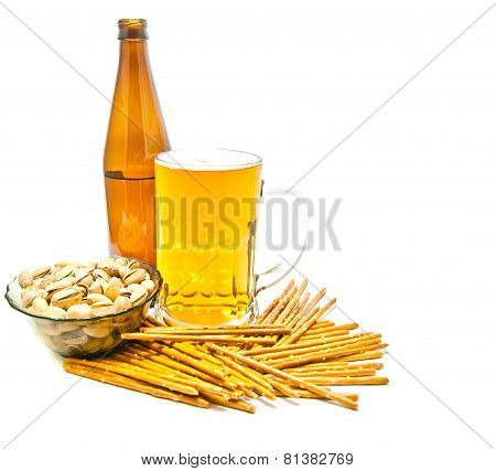 Breadsticks, Pistachios And Beer Closeup