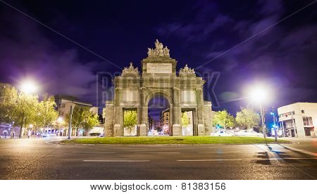 Gate Of Toledo (puerta De Toledo) On A Spring Night In Madrid