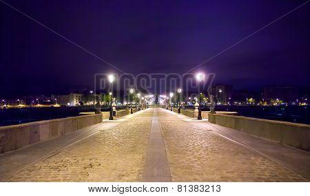 Toledo Bridge Over Manzanares River Illuminated On A Spring Night, Madrid