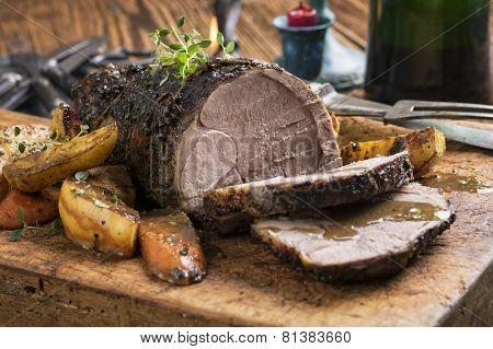 Lamb Roast on Cutting Board