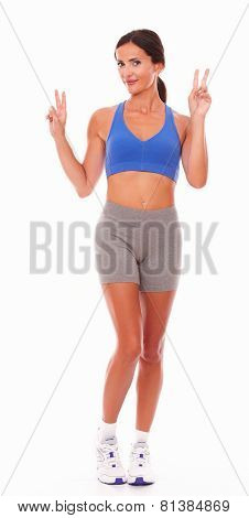 Satisfied Young Woman In Sport Clothing