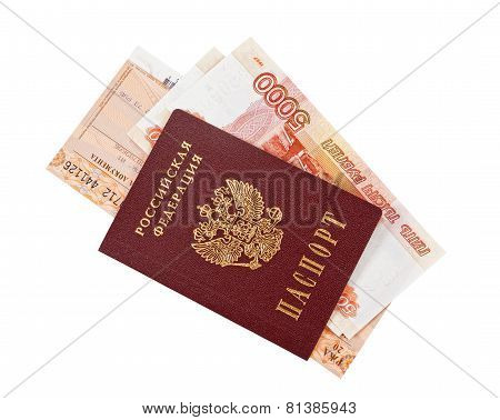 Russian Rouble Bills, Train Tickets And Passport Isolated On White Background