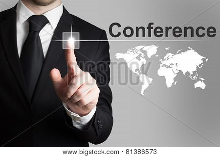 Businessman Pushing Button Conference International Worldmap