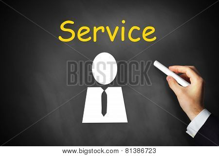 Hand Writing Service On Black Chalkboard