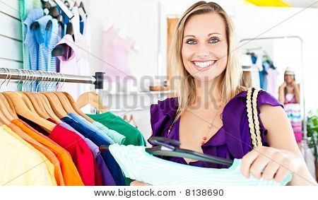 Caucasian Woman Selecting Item