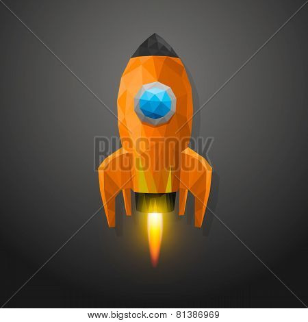 Space rocket launch 3d polygon
