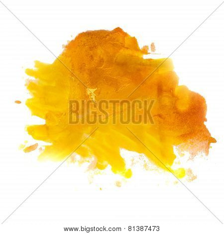 yellow orange spot blot watercolors isolated