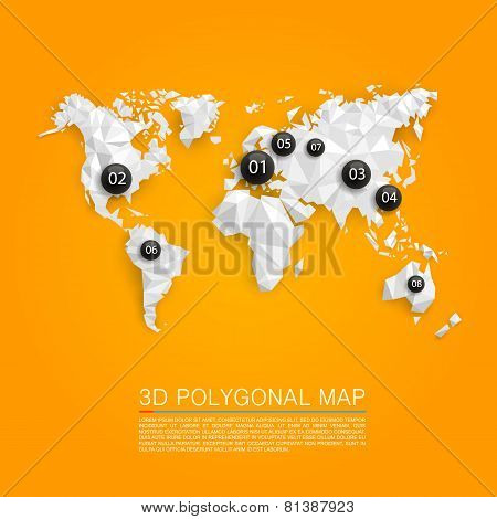 Map 3d polygon. Vector illustration