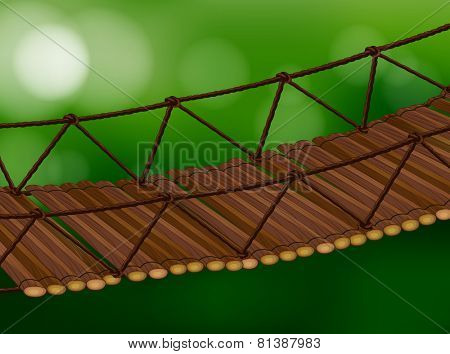Illustration of a wooden bridge crossing